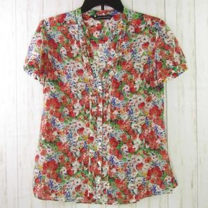 Zara Woman Floral V-Neck Button Down Top M